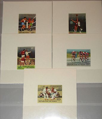 NIGER 1976 531-35 363-67 SHEETS Summer Olympics Montreal Sports Judo Soccer MNH