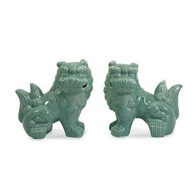 Porcelain Choo Foo Dogs Statues Celadon Color Asian Home Decorating Accent