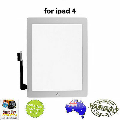 iPad 4 (4th Gen) GLASS TOUCH SCREEN DIGITIZER + Home Button + Adhesive - WHITE