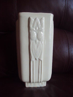 "Vintage Original Early 40's McCoy Cream Color Vase. 9""Tall. Very Hard to Find!"