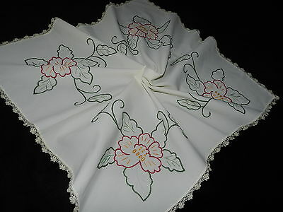 """Vintage hand  embroidery tablecloth + handmade lace 27.5""""/29""""  A1082"""