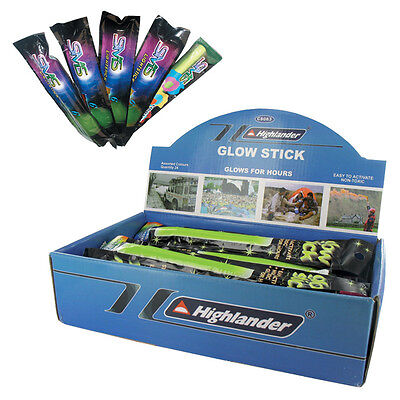 """HIGHLANDER 6"""" SIGNAL LIGHT SAFETY CAMPING PARTY GLOW STICKS DISPLAY BOX of 24"""