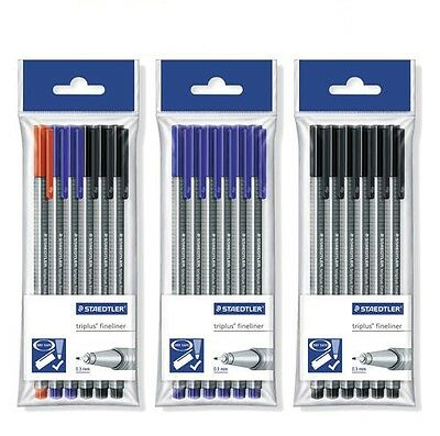 Staedtler Triplus Fineliner Pens - Pack of 6 Pens  - Black/Blue/Assorted NEW!