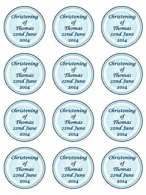 """12 x Boys Christening/ Holy Communion 2"""" PRE-CUT PREMIUM RICE PAPER Cake Toppers"""