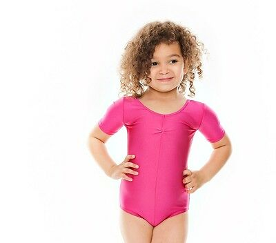 Girls Ballet Dance Gymnastics Short Sleeve Shiny Ruche Leotard By Katz KDC008