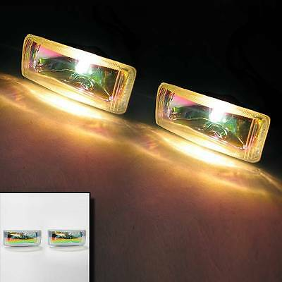 Set Of 2 Universal Rainbow Yellow Car Van High Power Spot Fog Lights H3 12v 55w