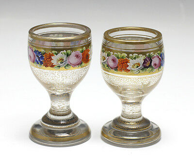 Pair Continental Hand Painted Cut Glass Goblets - Raised enamel flowers and gilt