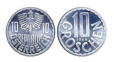 1964 + 1965 Austria 10 Groschen Proof Coin Lot - Nice Surfaces - Cameo