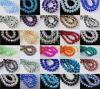 Wholesale 100pcs 4X3mm Faceted Rondelle Crystal Glass Loose Spacer Beads