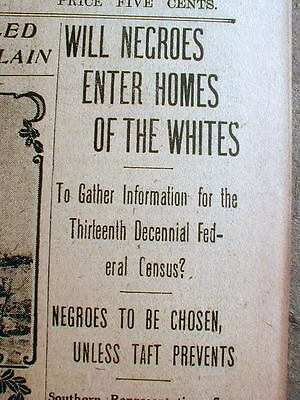 1909 Georgia newspaper Objections to Negroes entering White houses toTake census