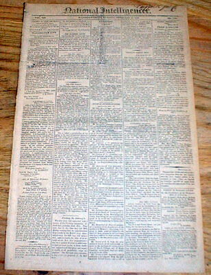 Original 1814 War of 1812 newspaper w SLAVES for SALE AD Washington DC