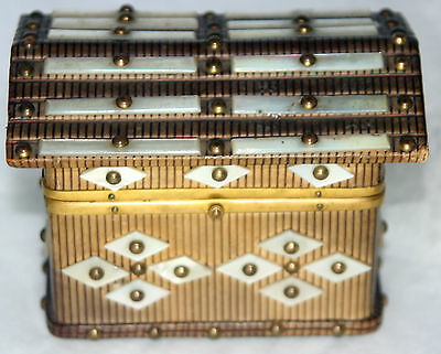 Antique c1800~~GoRgEoUs Mini DOMED DOLL's WOODEN WORK TRUNK~~MOTHER-of-PEARL