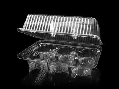 6 Compartment Standard Cupcake/muffin Container, Clr Plastic, Deep Dome (10/pk)