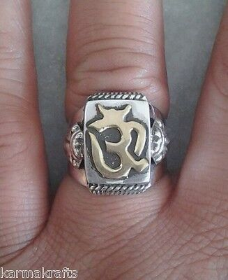 Hindu OM Peace ~ 925 Sterling Silver Sterling Ring Sizes 8