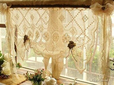 SHABBY French Rustic Chic Balloon Burlap Valance -ANTIQUE Lace Flower BOWS Cream