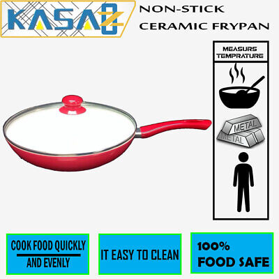 New Red Non-Stick Ceramic Stone Marble Coated Genuine Kasa Fry Pan Frying Pan