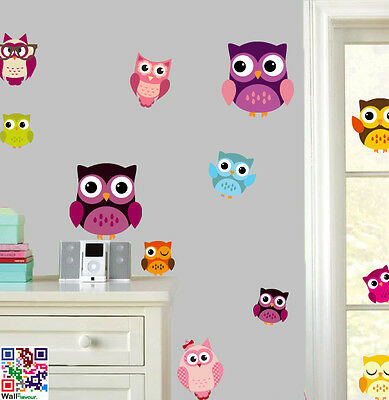 Cute Owls - Pack of 15 - Wall Art Vinyl Stickers - Animal Birds Transfers Decals