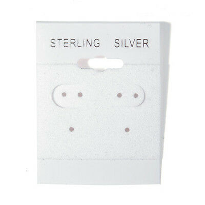 """Sterling Silver Imprinted 1/"""" x 1/"""" Wh Puff Earring Card Pack of 100"""