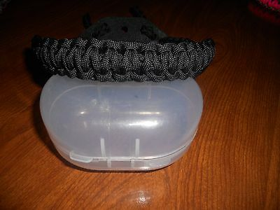 Paracord Wrist Bow Sling - Flat Black Tactical - Leather Yoke -