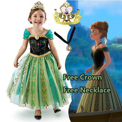 Girl Anna Costume Dress Party with Tiara and Necklace size 3-11 Years
