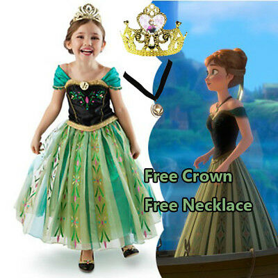 Girl Frozen Anna Costume Dress Party with Tiara and Necklace size 3-11 Years