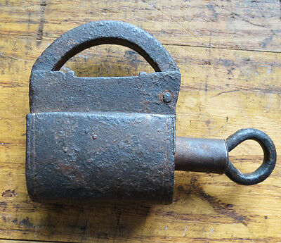 Antique Iron Screw Key Pad Lock - Hand Forged - Large