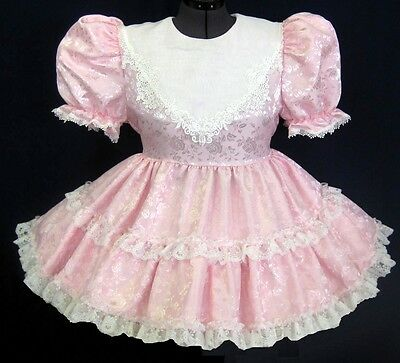Custom Fit* Lacy PINK Roses Adult Baby Sissy Dress LEANNE