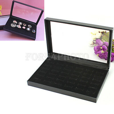 Clear Plastic Top 36 Slots Rings Display Show Case Jewelry Storage Holder Box