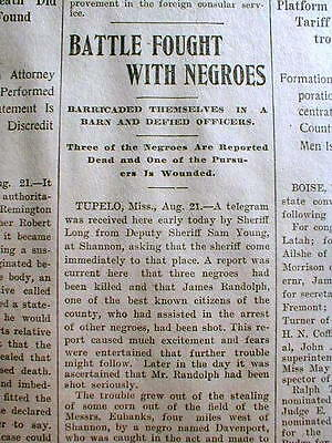 1902 newspaper 3 BLACK MEN LYNCHED in SHANNON Mississippi by White mob