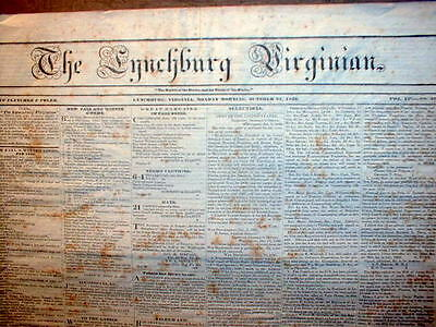 Rare original 1836 LYNCHBURG Virginia newspaper RUNAWAY SLAVE REWARD AD 176yrOld