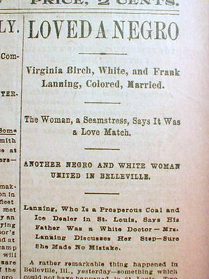 1894 St Louis MO headline newspaper MARRIAGE of BLACK MAN to WHITE WOMAN shocks