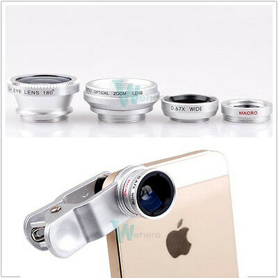 Fisheye+Telephoto+Wide Angle+Micro Lens Camera Kit w Clip Fr iPhone 6 6P 5 5S 5C
