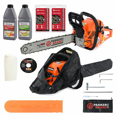 "58cc 20"" Petrol Chainsaw + 2 x Chains + Oils + More"