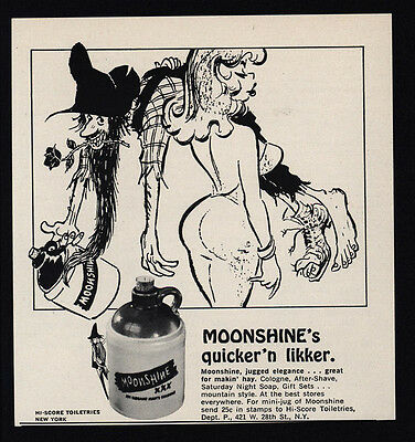 1966 MOONSHINE'S Quicker N Likker Cologne Sexy Woman Jug Hillbilly ADVERTISEMENT