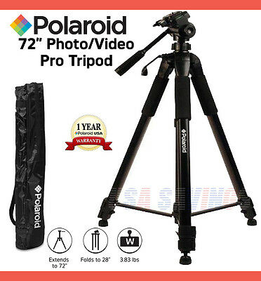 """POLAROID TRIPOD 72"""" PROFESSIONAL HEAVY DUTY FOR DIGITAL CAMERAS and CAMCORDERS"""
