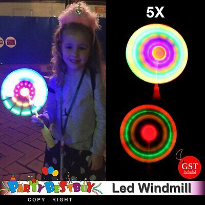 5x Led Flashing Windmill Handheld Fan Spinning Wand Pinwheel Wind Rave Toy Party