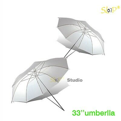"2 x 33"" Photo Studio Flash Lighting SoftBox Diffuser Translucent White Umbrella"