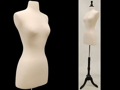 Size 6-8 Female Mannequin Dress Form+Black Wood Base JF-FWP-W + BS-02BKX