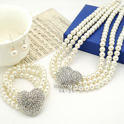 e85663f092853 LUXURY QUEEN BRIDAL White Pearls Jewellery Set Necklace Earrings ...