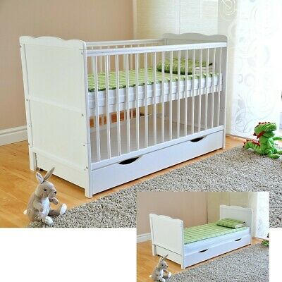 New White Classic Solid Wood Baby Cot & Deluxe Foam Mattress Ex120