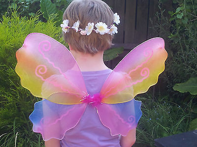 10 x Lovely Rainbow coloured fairy wings with glitter detail