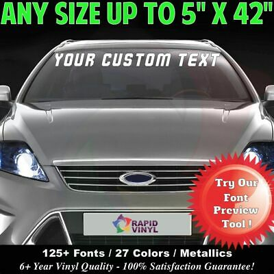 Custom Windshield Text Lettering 5 x 42 Vinyl Decal Sticker Business Banner Sign