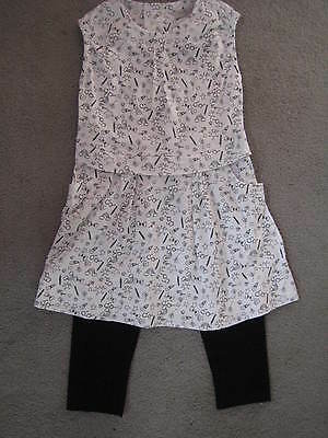 M&S 2 Piece Black/White Print Dress With Black Leggings Age 2-3Y - Bnwt