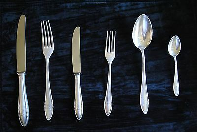 German 800  Silver Service 12-6 Piece Place settings  by Hugo Sandig w/ Monogram