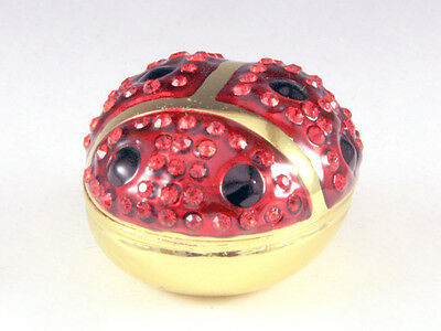 New Ladybug Red Genuine Crystals Bejeweled Trinket Box In Gold Tone