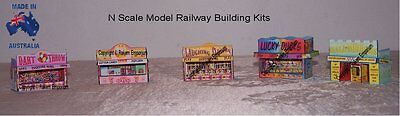 N Scale Carnival Game Booths Stands x 5 3D Model Railway Building Kit - NCFGB1