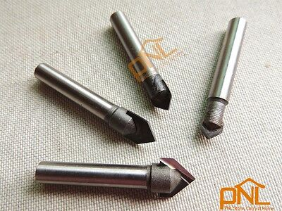 4PC 1/4 Inch Router CNC Engraving V Groove Bit set 6mmx(6,8,10.12mm)x90Deg