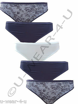 5 Pack Ladies Marks & Spencer No Vpl High Leg Briefs Microfibre M&s Nude Black