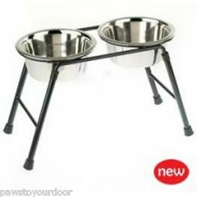 "Raised twin small/med dog feeder highstand 9"" inc 2 x 6.5"" bowls classic 0552"