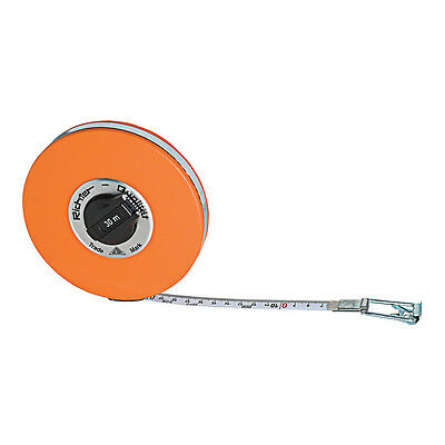 15m/50ft Tape Measure White Enamelled Steel - Decimal Ft - Steel Case - Richter